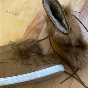 Cute faux fur leather booties